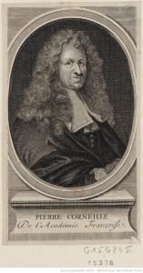 Portrait de Pierre Corneille, en buste, de 3/4 dirigé à droite dans une bordure ovale : [estampe]   Source BNF