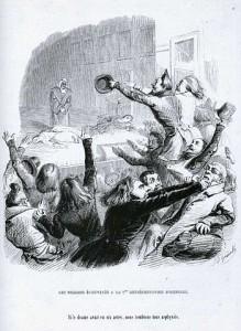 Jean-Jacques Grandville - Les Romains échevelés à la première représentation d'Hernani