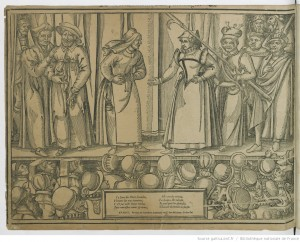 [Farce des Grecs] : estampe de Jean de Gourmont