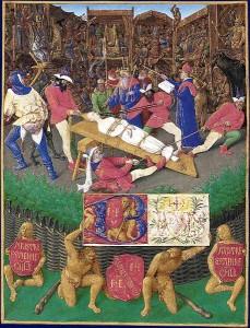 Jean Fouquet, les Heures d'Étienne Chevalier, Représentation du Mystère de sainte Apolline.