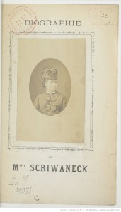 Biographie de Mlle Scriwaneck. 1877 . Source : BnF/ Gallica