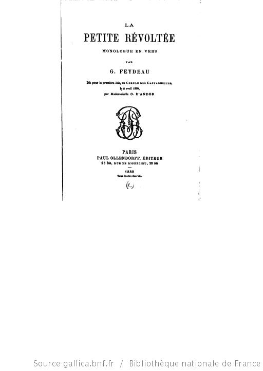 La petite révoltée de Georges Feydeau
