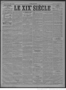Une du journal Le XIXe siècle du 05 septembre 1894 consacrée à une exposition au musée Carnavalet consacré aux objets du maître de l'évasion Latude. Source : BnF/ Gallica