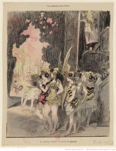 Les coulisses d'une Féerie. Au Châtelet, pendant le ballet des insectes. Estampe de Robida 1885. Source : BnF/ Gallica