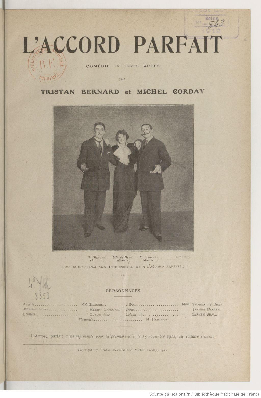 L'Accord parfait de Tristan Bernard et Michel Corday